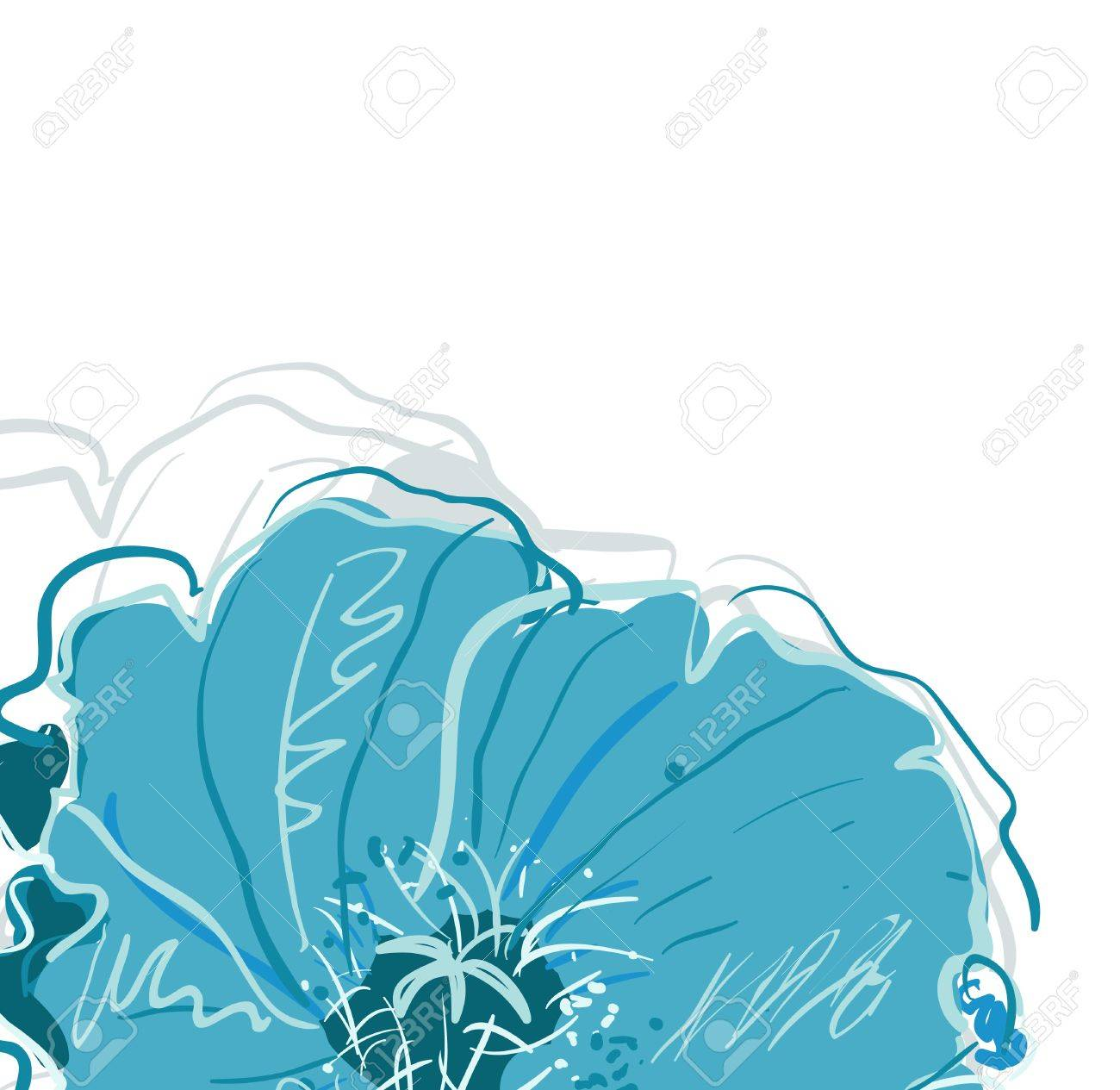 Abstract elegance vector background with blue flowers Stock Vector - 9640614