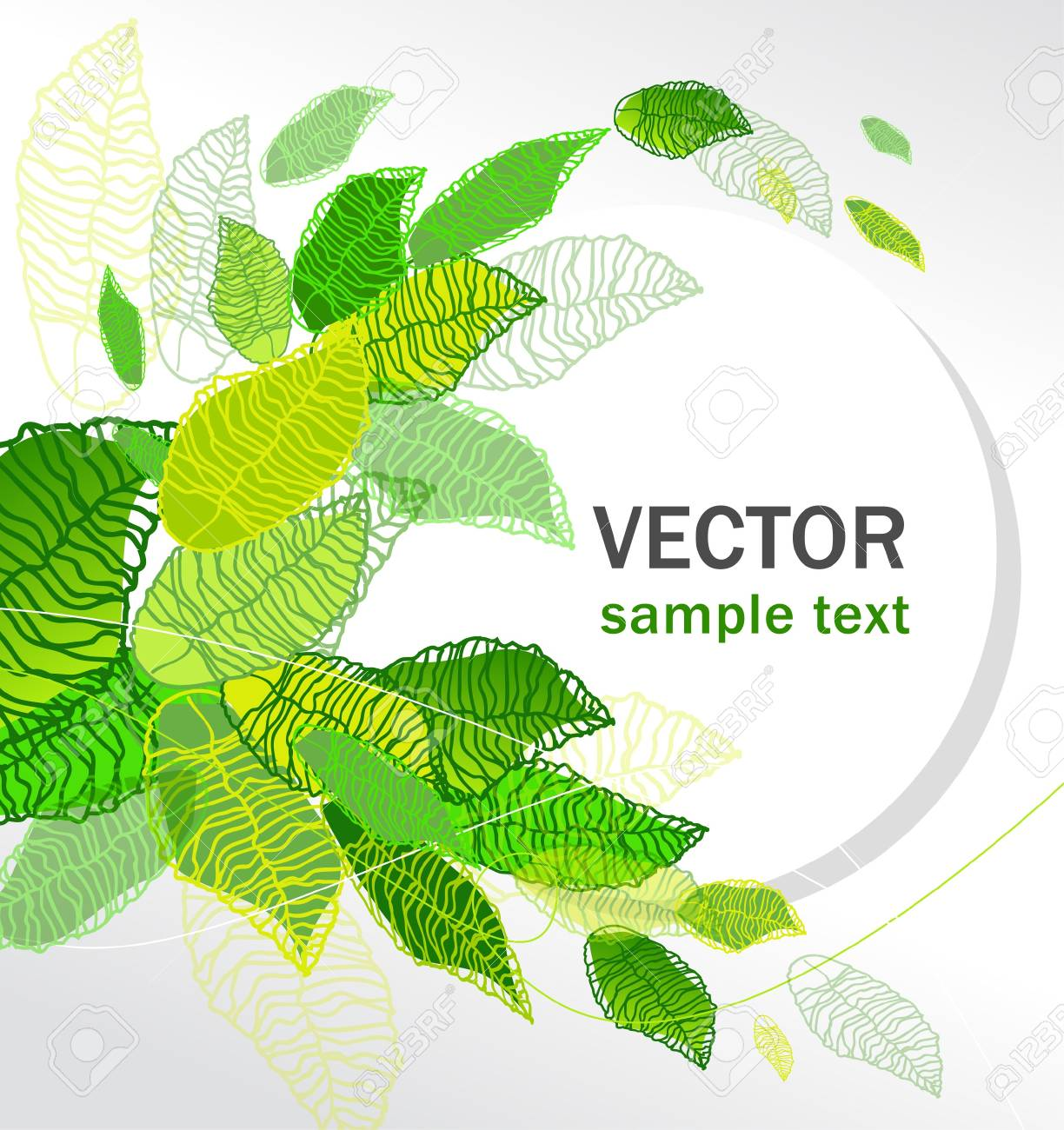 abstract vector floral background set with green leaves Stock Vector - 9765291