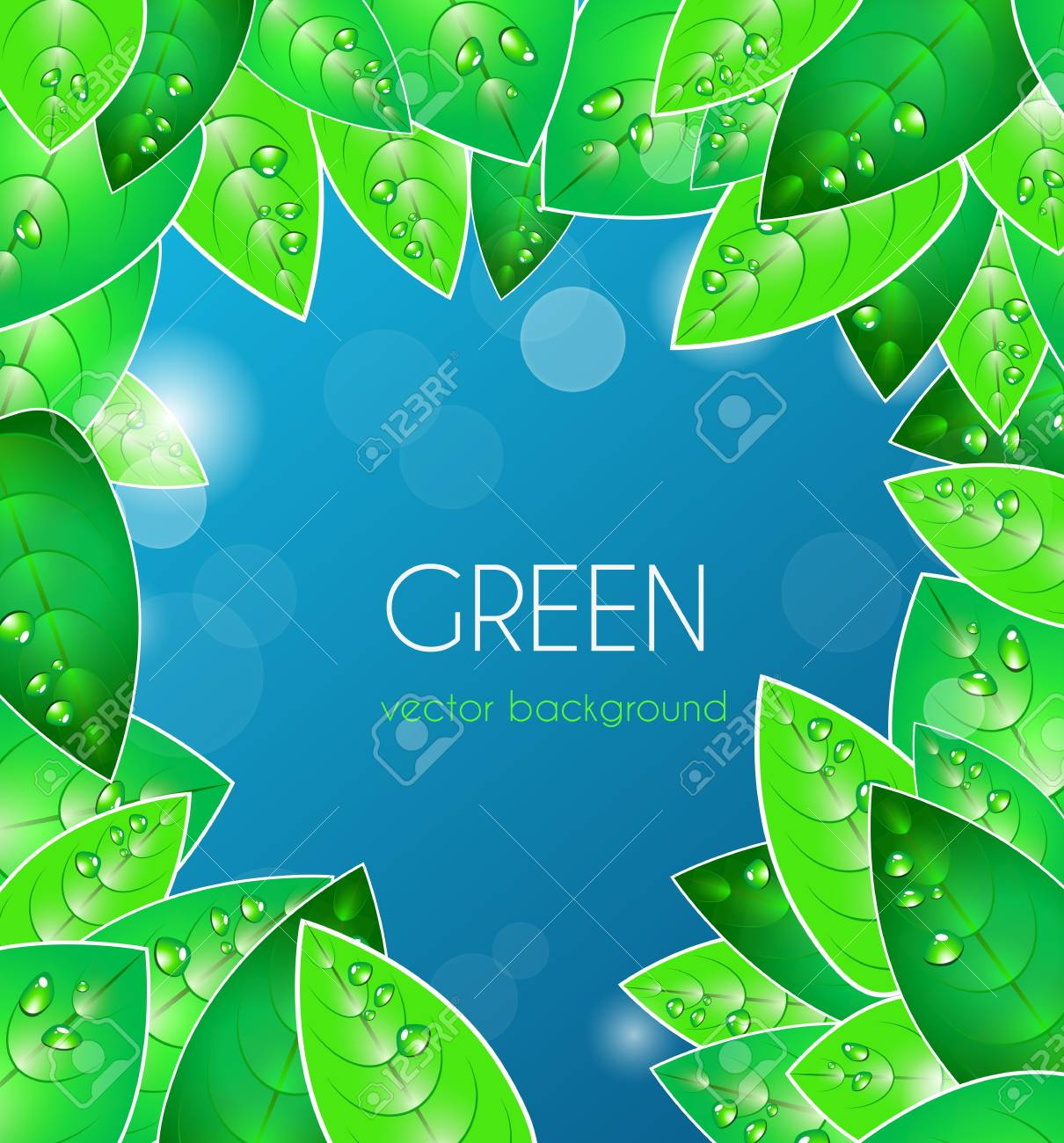 Abstract blue vector  background with green leafs Stock Vector - 9765332