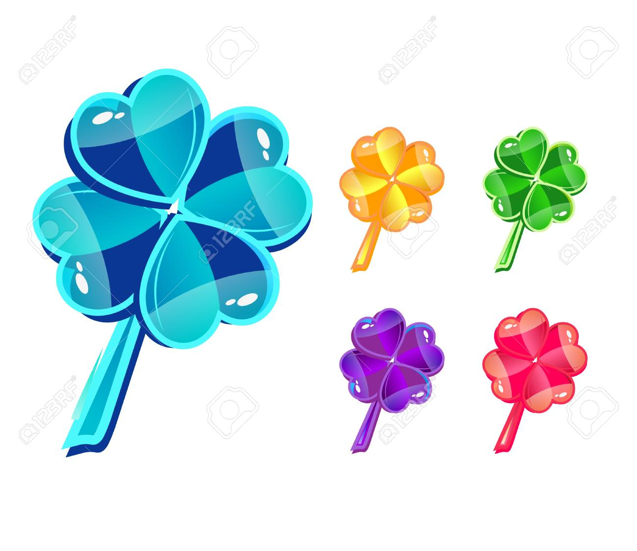 Vector set with glass multicolor clovers Stock Vector - 10002946