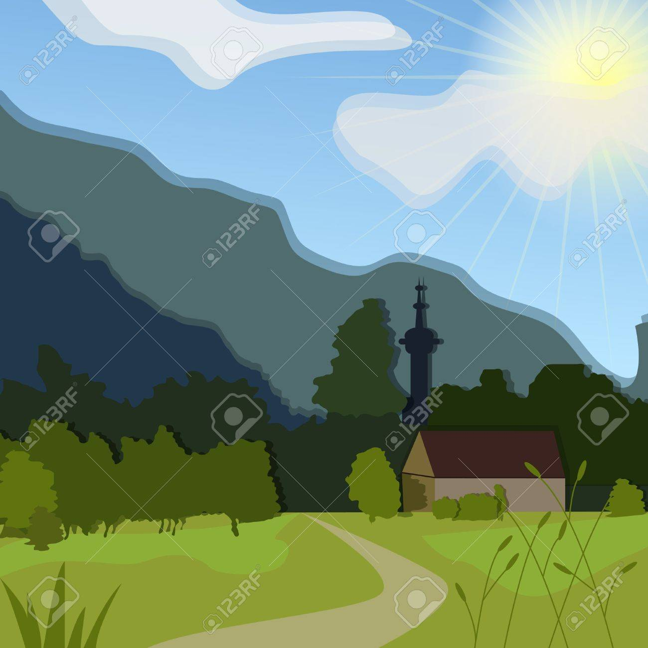 Vector rural landscape with green meadow and house Stock Vector - 10401298