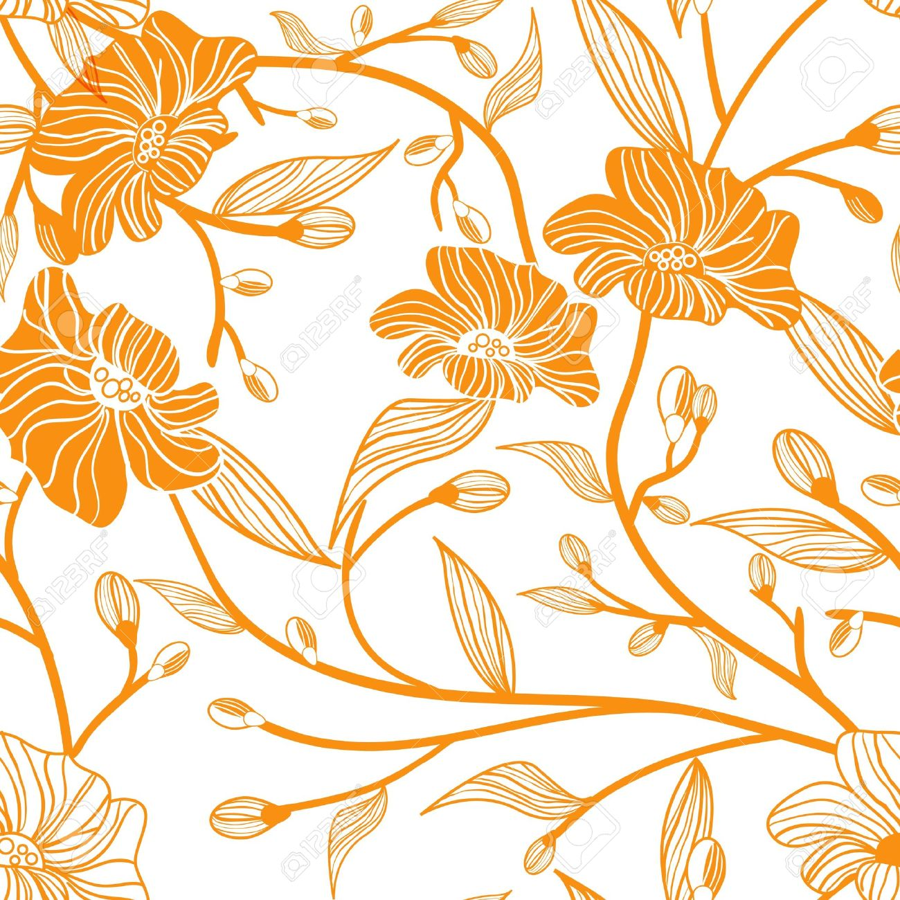 Abstract Light Vector Background With Drawing Orange Flowers