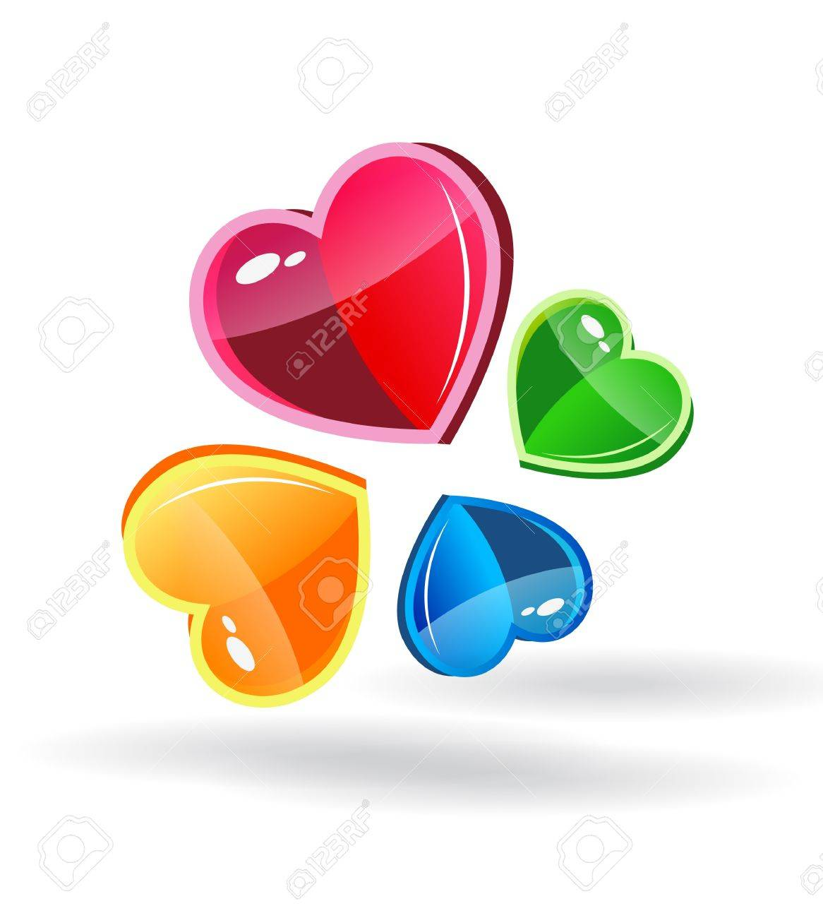 Abstract vector background with glass hearts Stock Vector - 11275220