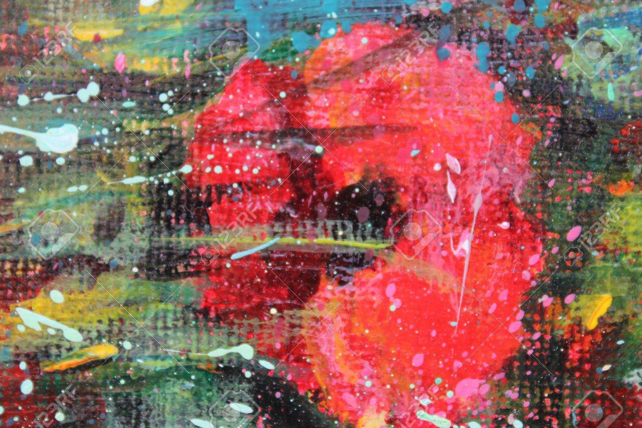 Acrylic landscape with blue sky and red poppies Stock Photo - 12189873