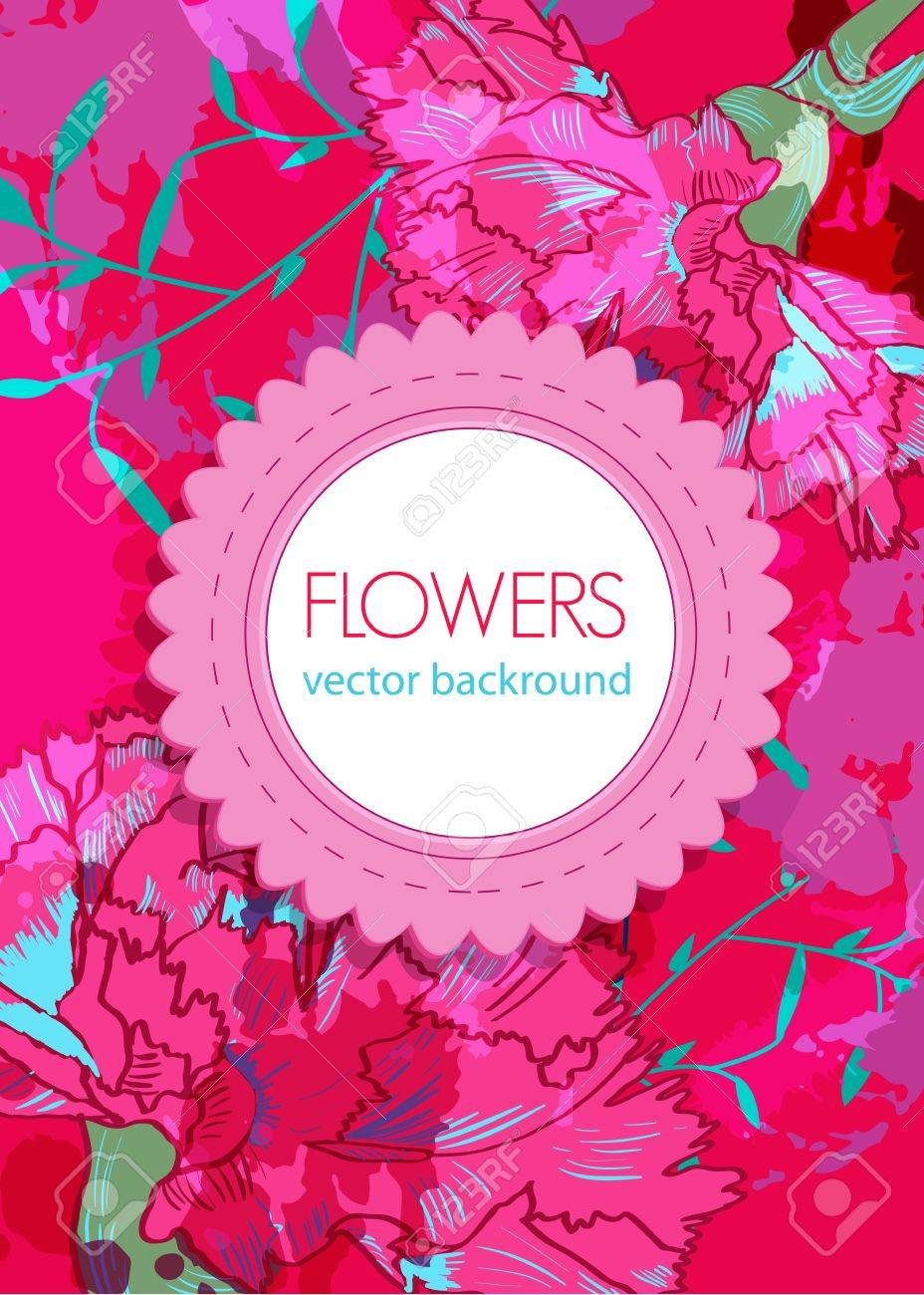 Vector floral background with pink drawing flowers Stock Vector - 13652856