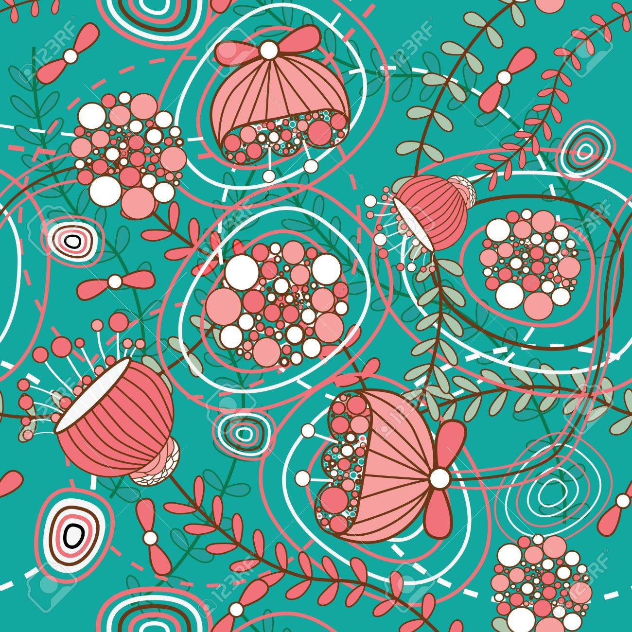 Seamless pattern with drawing flowers Stock Vector - 14337104