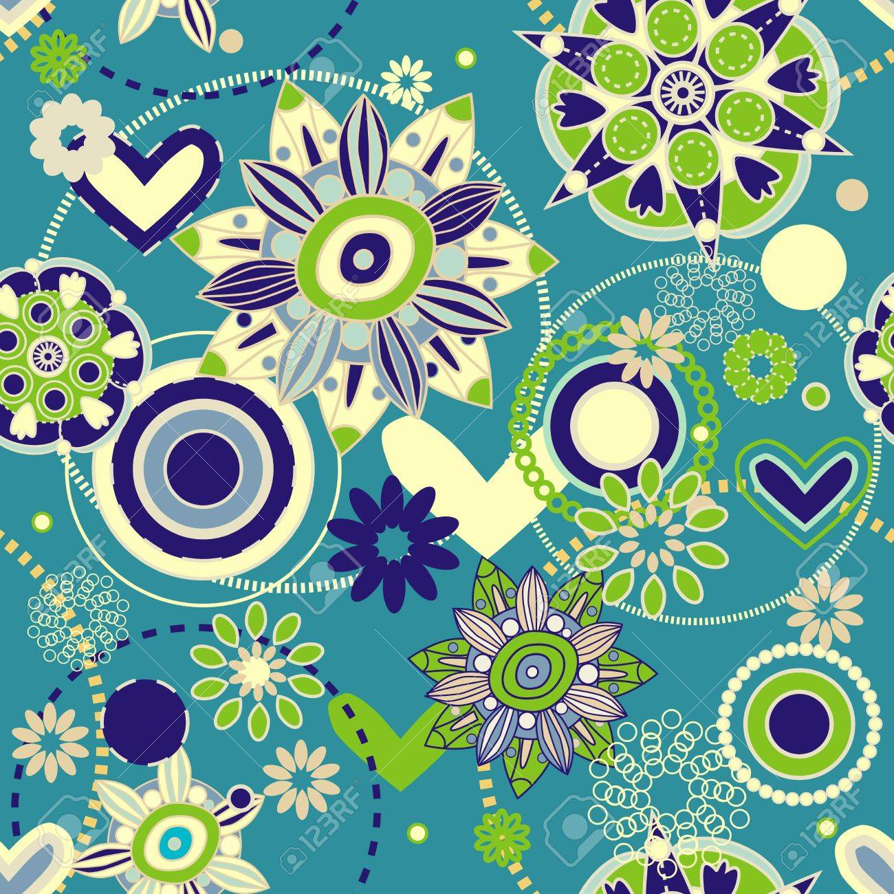 Seamless pattern with drawing flowers Stock Vector - 14589825