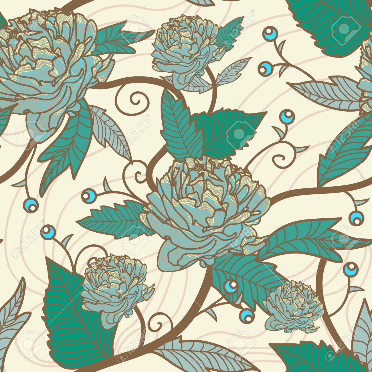 Seamless vector retro texture with drawing flowers Stock Vector - 15646084