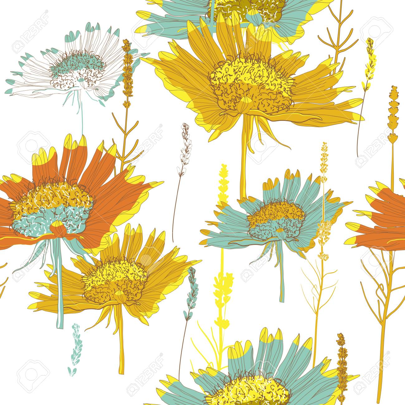 Seamless  texture with bright flowers Stock Vector - 16416840