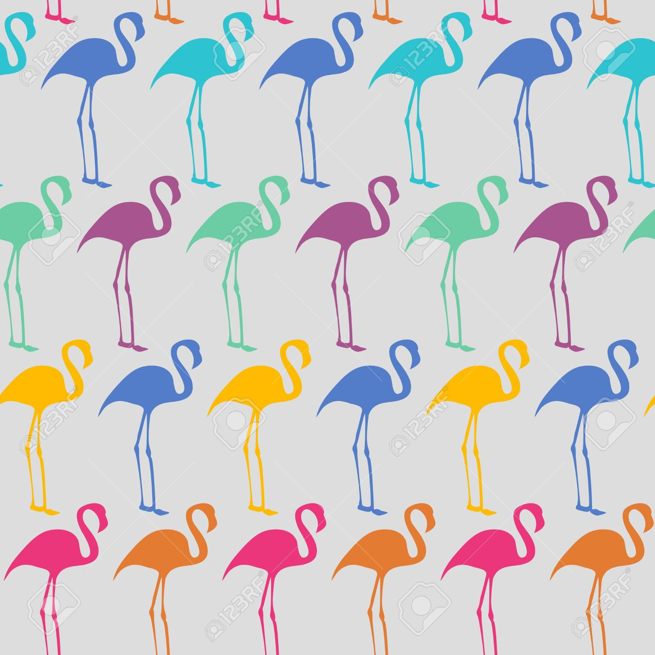 Bright seamless vector pattern with flamingos Stock Vector - 16534704