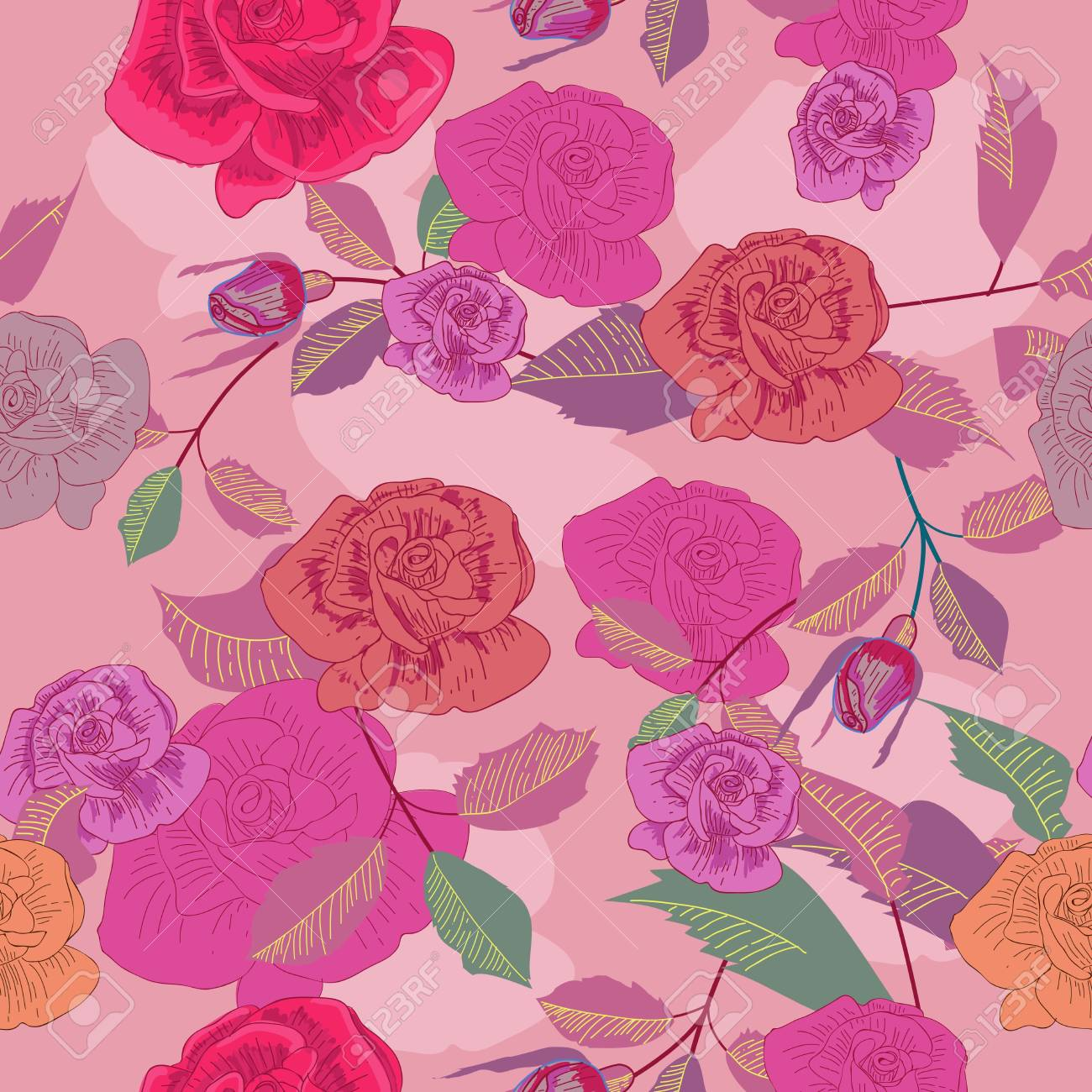 Seamless vector pattern with roses texture Stock Vector - 16534928