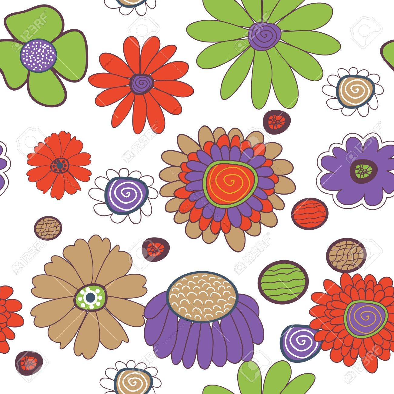 Seamless vector background with multicolored flowers Stock Vector - 17914881