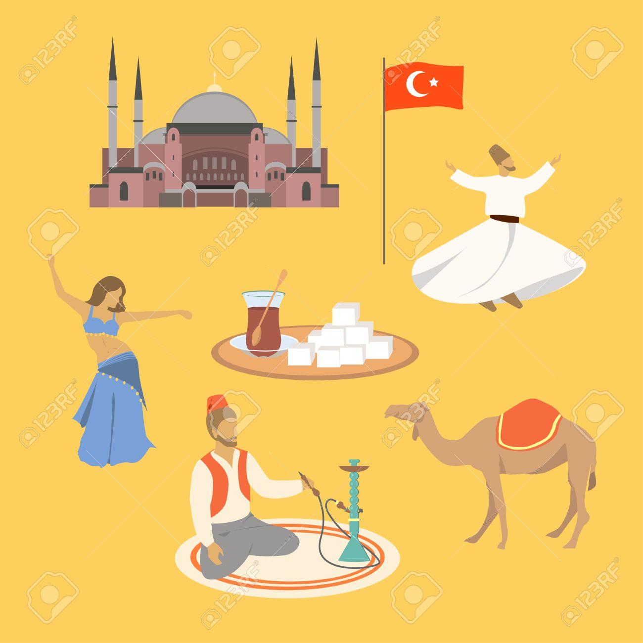 Dibujos Animados De Turquía Símbolos Y Objetos Conjunto Ilustración Vectorial Catedral De Santa Sofía Bailarina Del Vientre Té Turco Deleite