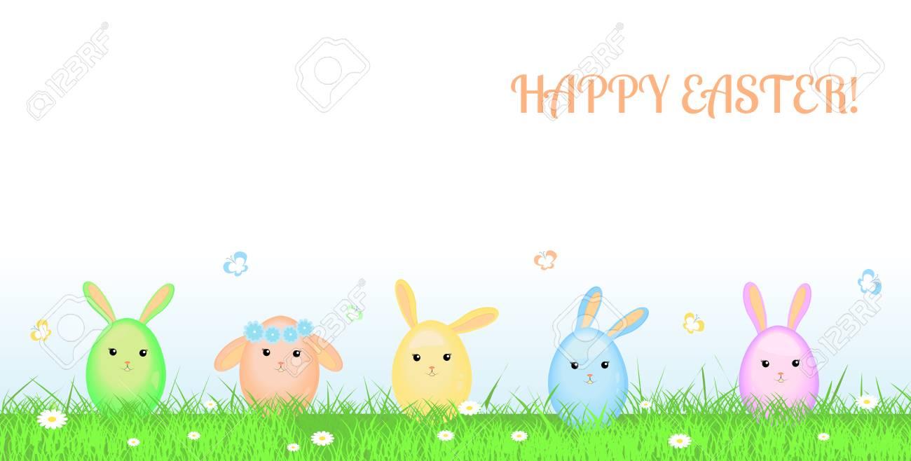 Frohe Ostern Grußkarte Vektor Illustration Süße Bunte Kaninchen