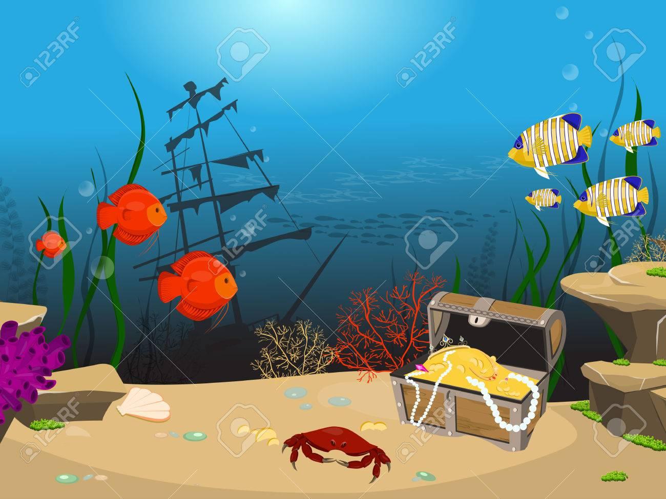 underwater world background underwater landscape with sunken