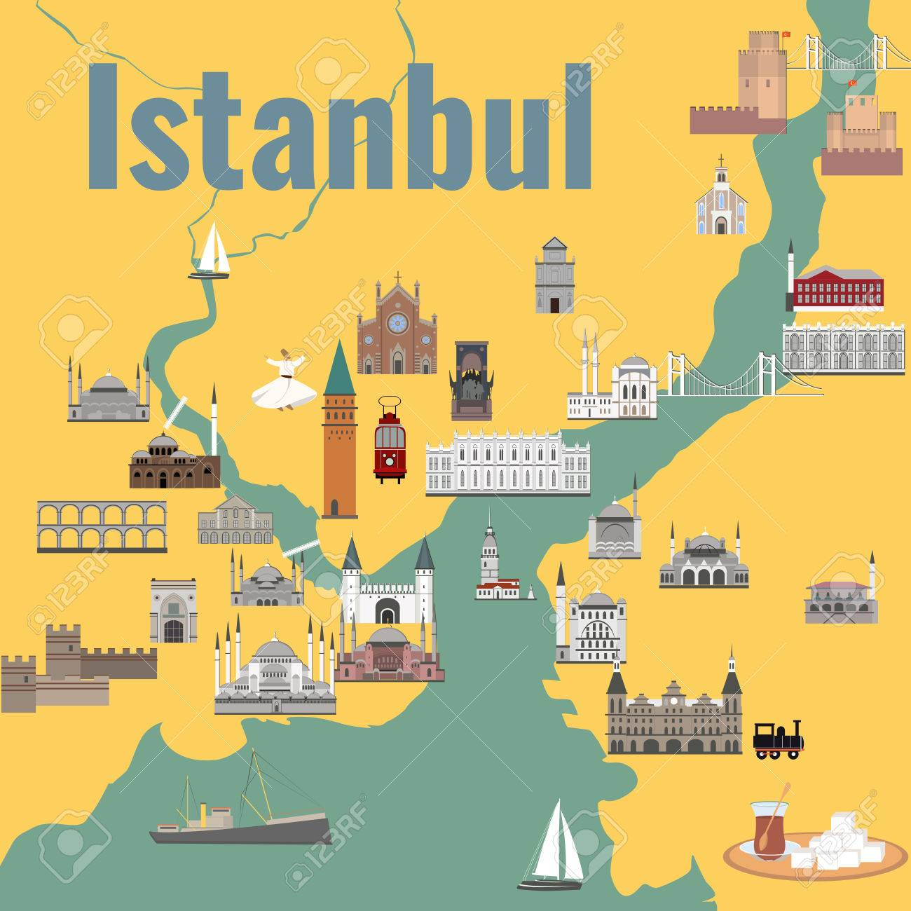 Map Of The Historical Center Of Istanbul With Sights Royalty Free