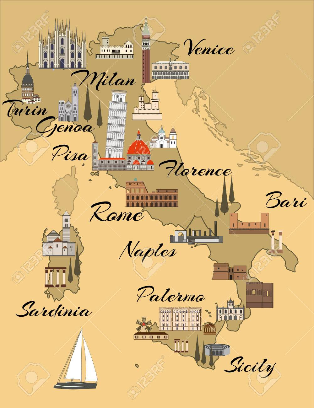 Travel Map Of Italy With Cities.Italy Travel Map With Sights Flat Style Illustration Popular