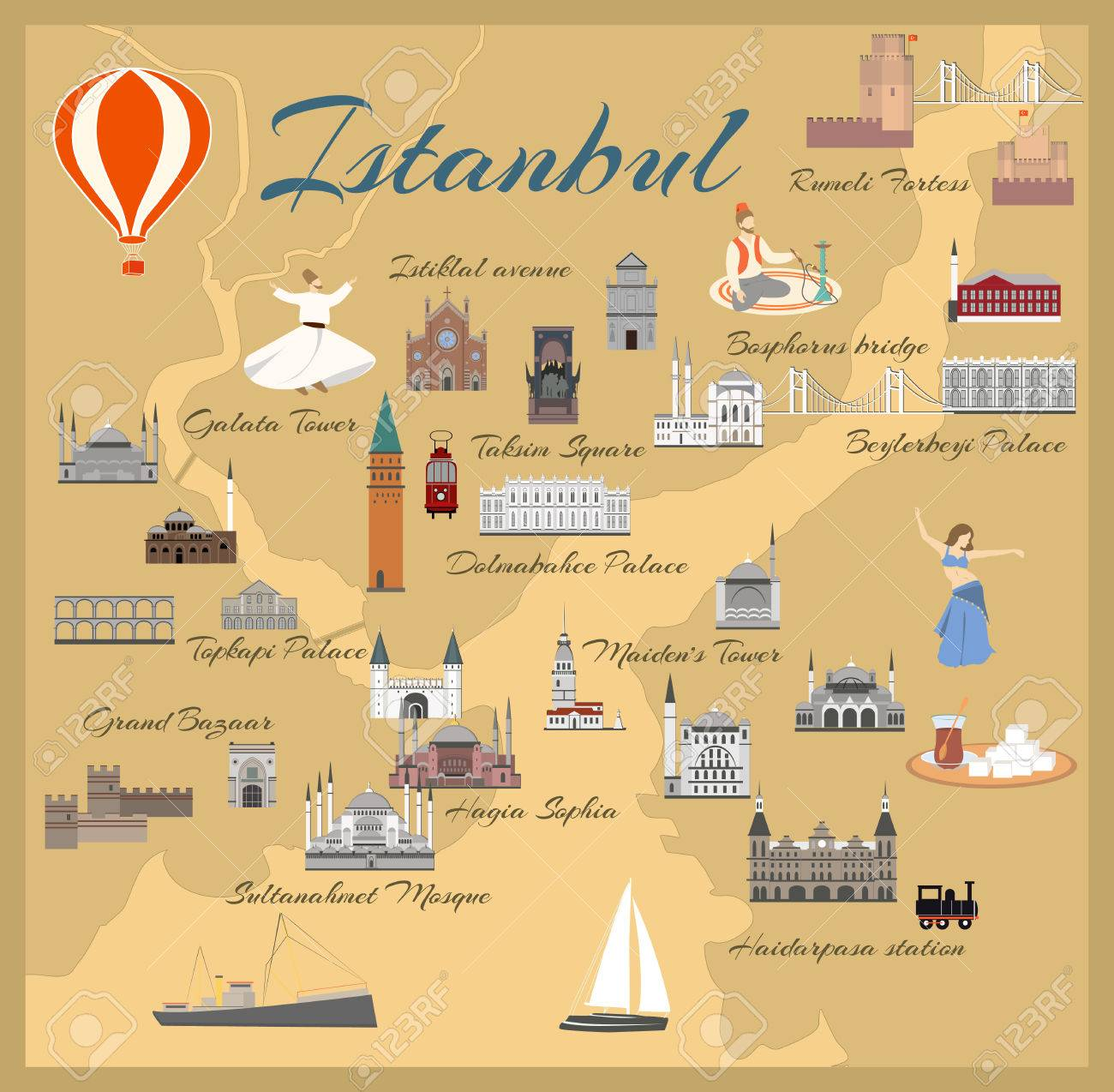 Map Of The Historical Center Of Istanbul With Sights Popular