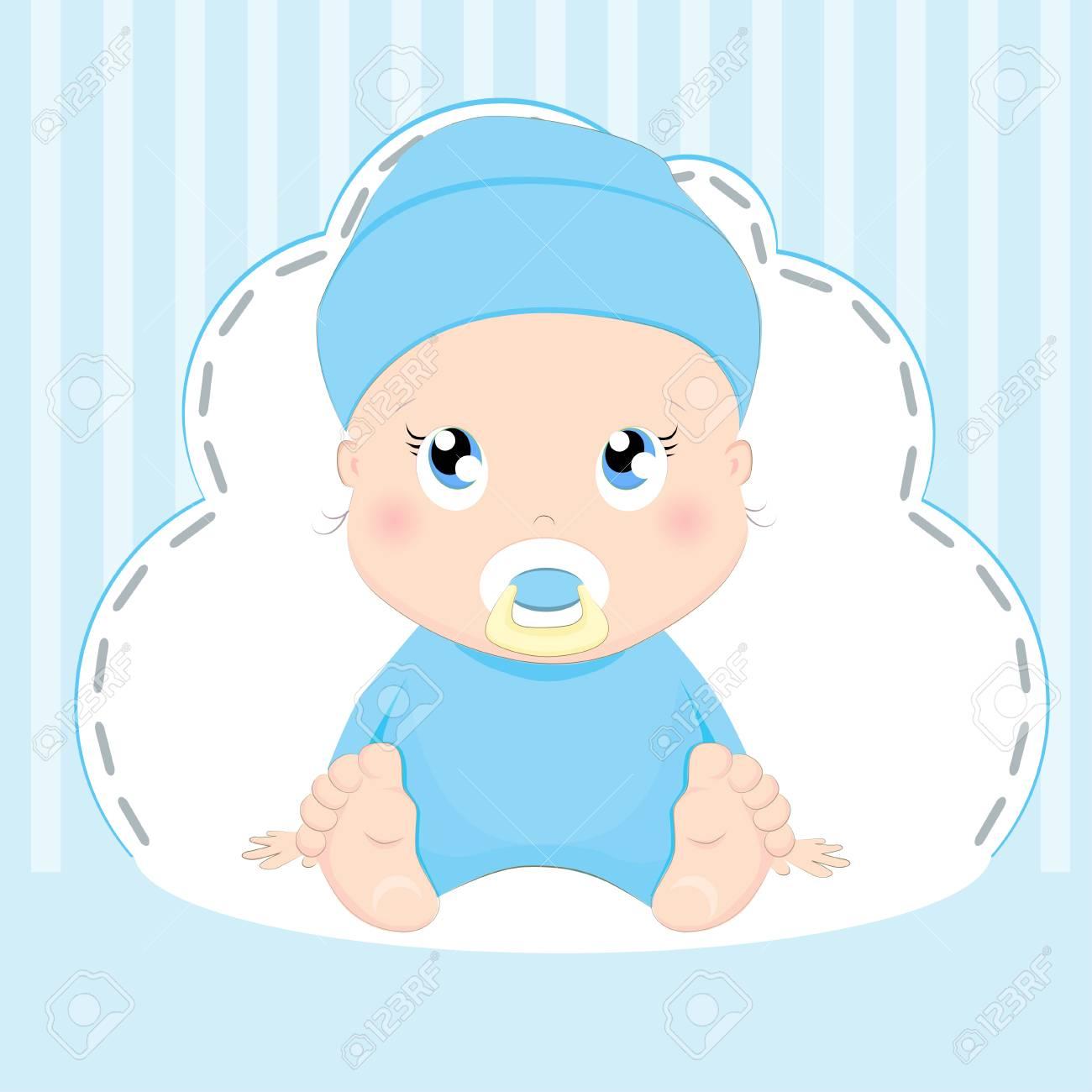 Disegno Di Carta Del Neonato Sveglio Su Priorità Bassa Blu