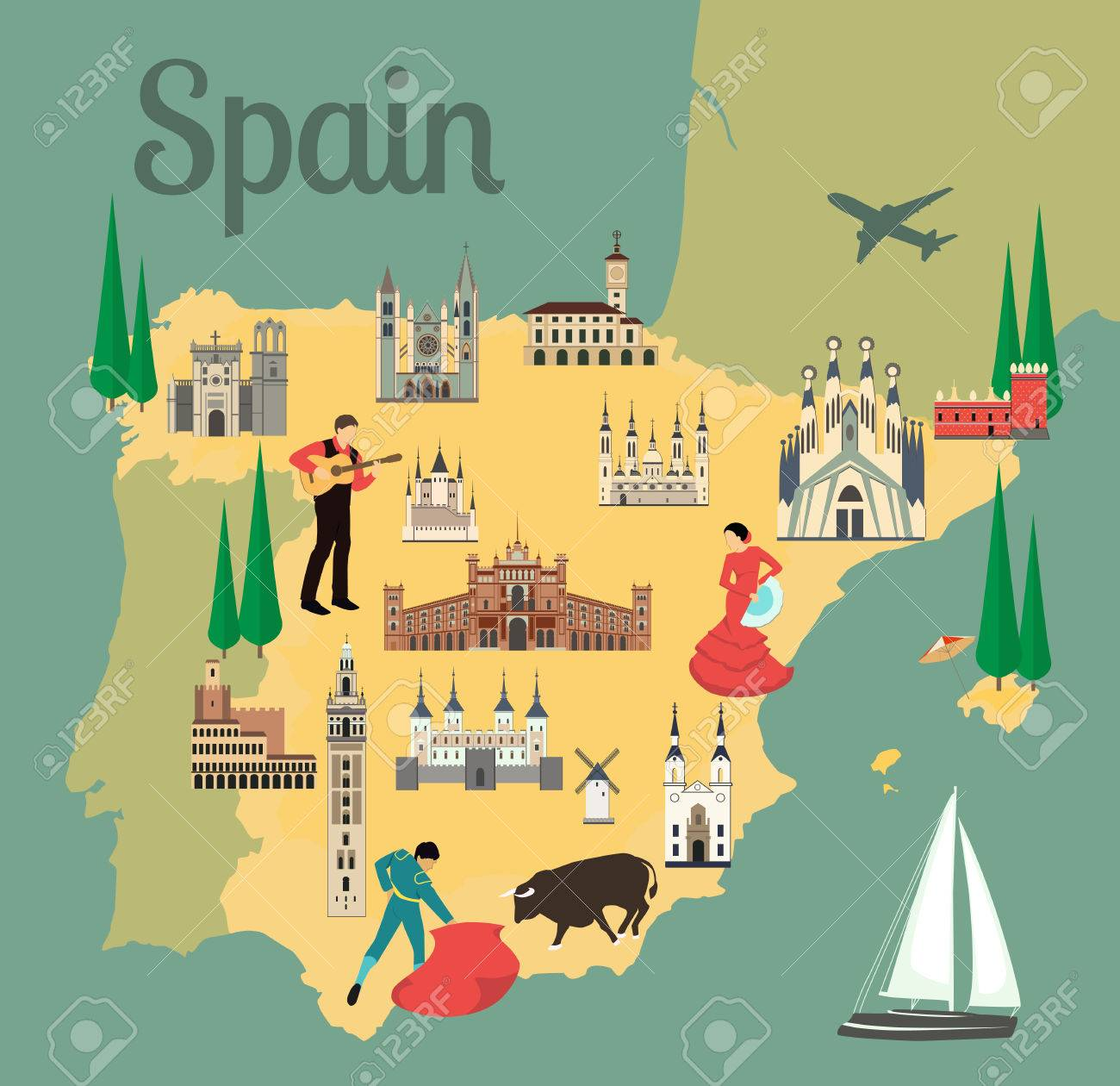 Travel Map Of Spain.Spain Travel Map With Sights Flat Style Vector Illustration