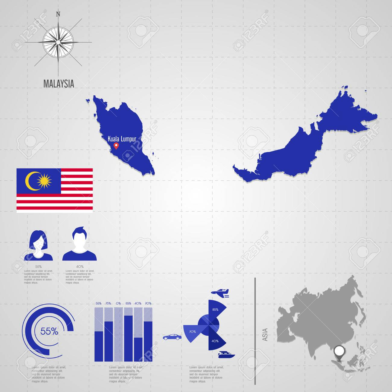 Republic of malaysia flag asia world map travel vector asia world map travel vector illustration stock vector gumiabroncs Images
