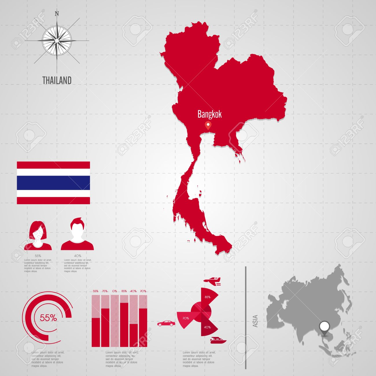 Republic of thailand flag asia world map travel vector asia world map travel vector illustration stock vector gumiabroncs Images