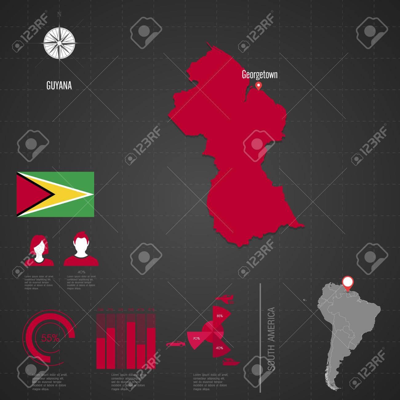 Republic Of GUYANA Flag World Map Travel Vector Illustration