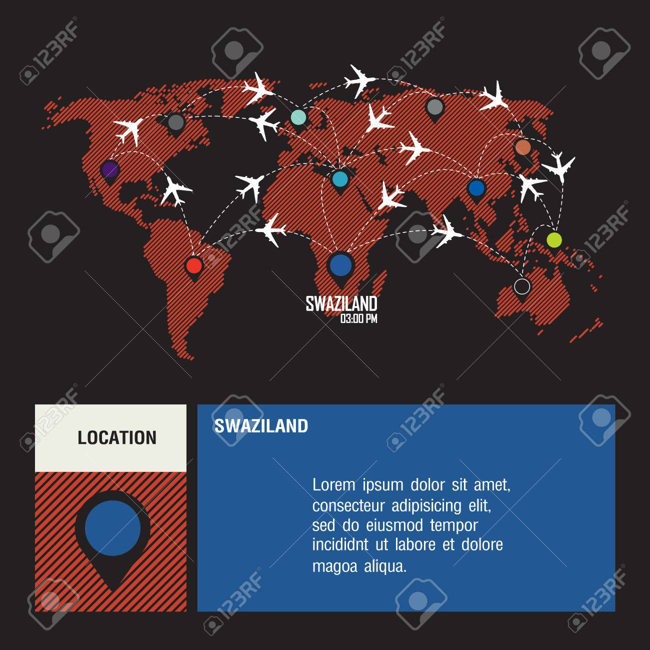 SWAZILAND Vector World Travel Map With Airplanes Royalty Free ...