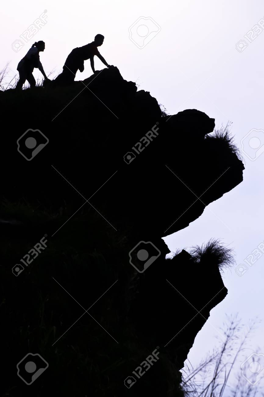 People on the peak of mountain in the morning at the northen of Thailand Stock Photo - 7510371