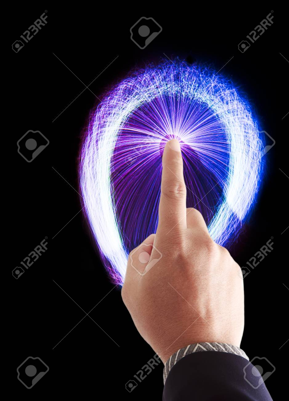 a male hand touching to touch pad Stock Photo - 9376142