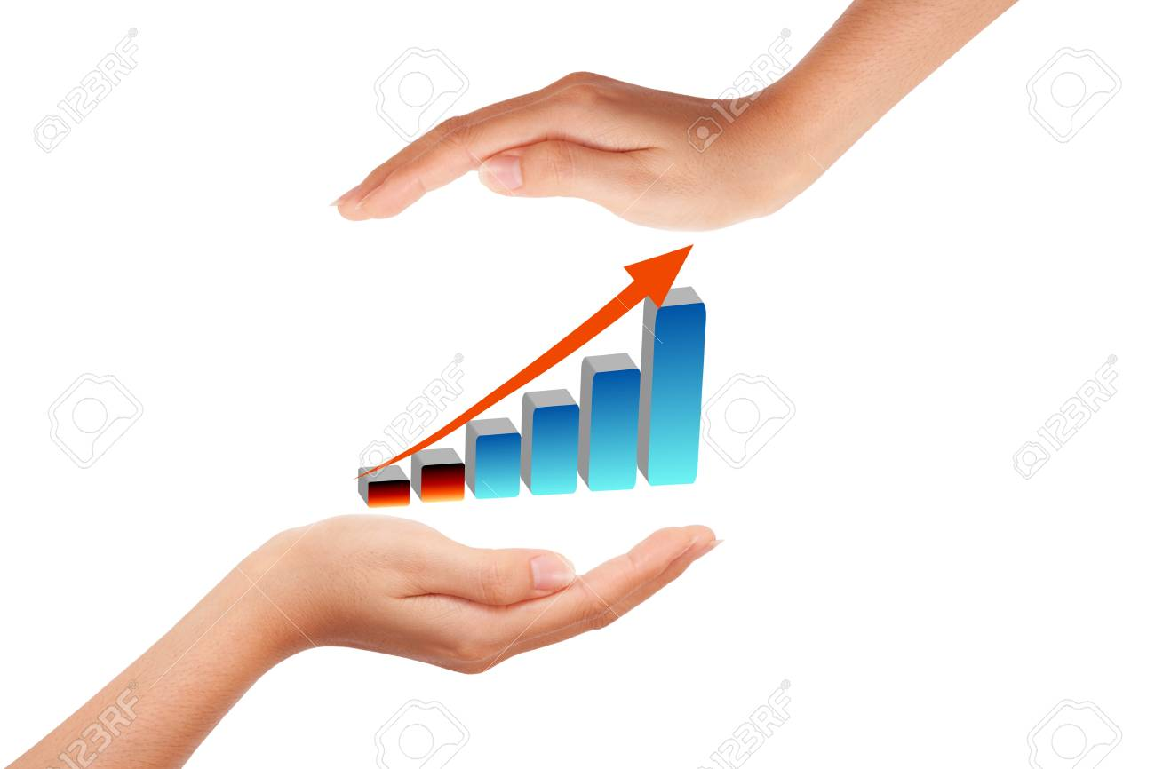 Hand with growing graph Stock Photo - 9375598