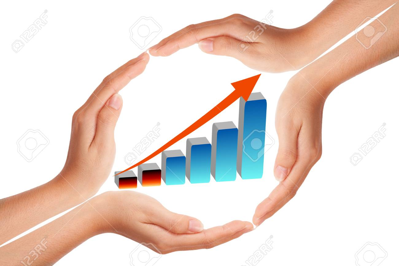 Hand with growing graph Stock Photo - 9375656