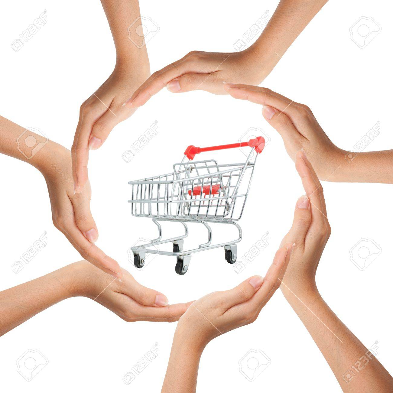 Multiracial human hands making a circle with Copy Space and shopping cart Stock Photo - 9403490