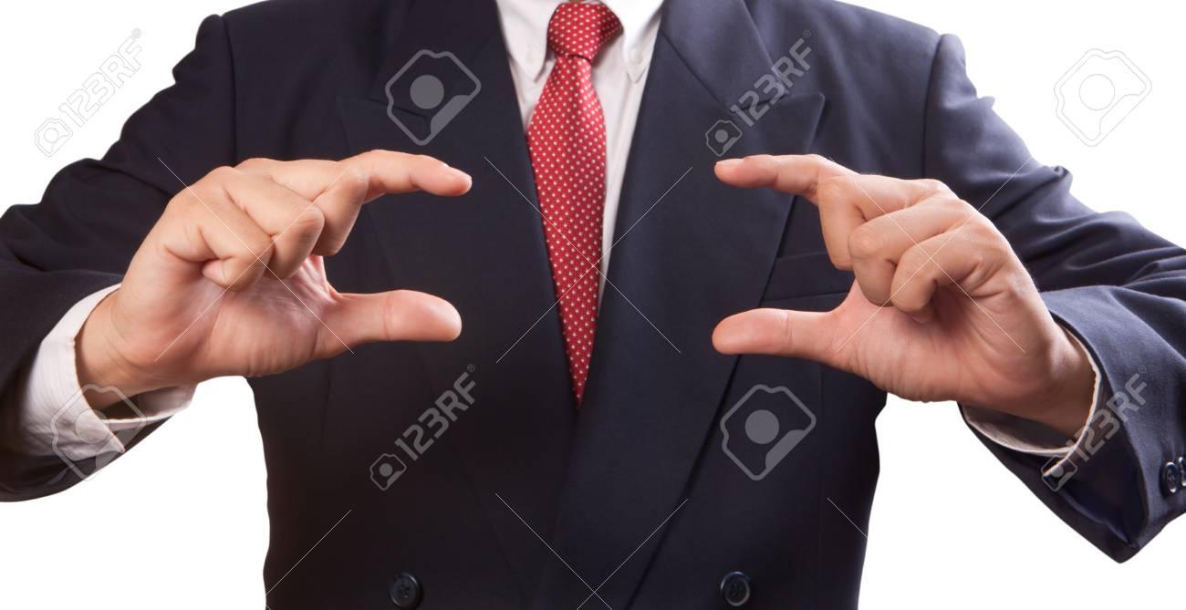 Business man holding something Stock Photo - 9597357