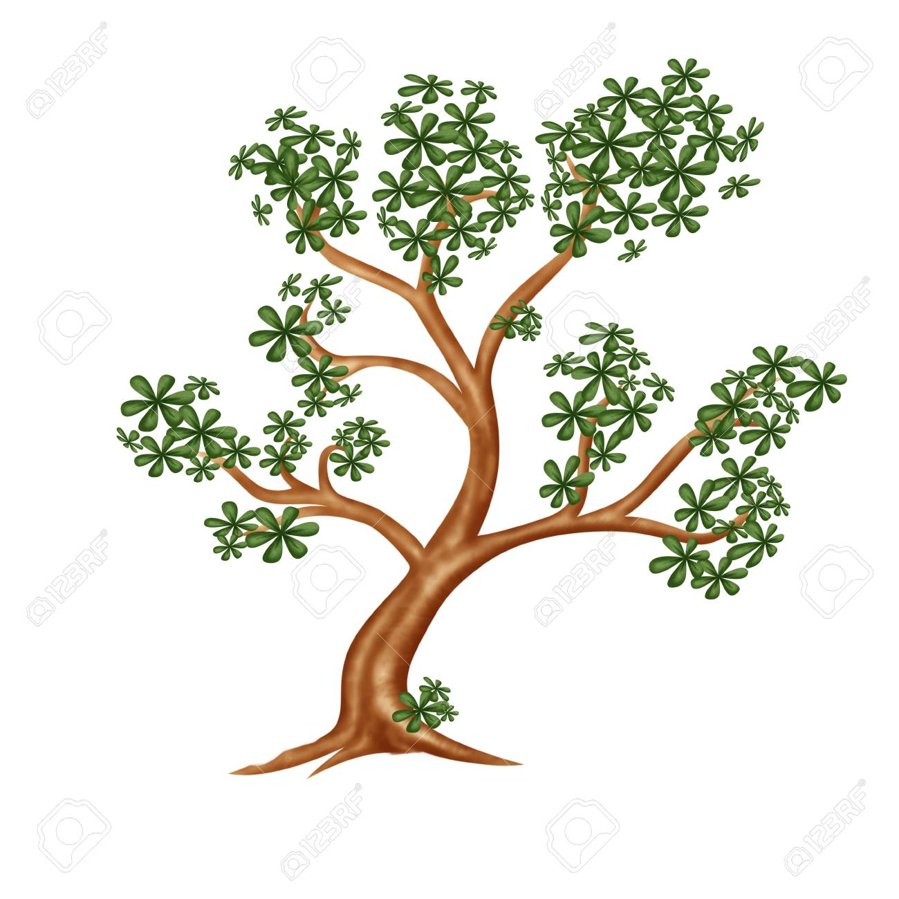 Tree with green leafag , drawing from vintage paper Stock Photo - 9733526