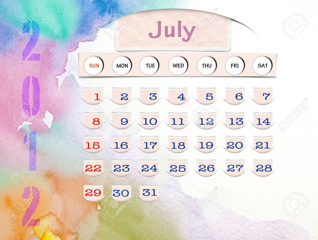 Calendar 2010, July on Water Color Stock Photo - 10256577