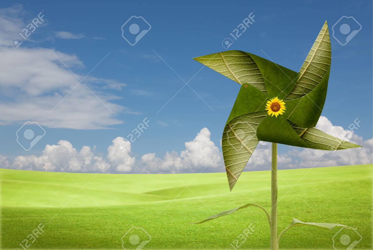 leave windmill on meadow Stock Photo - 10427429