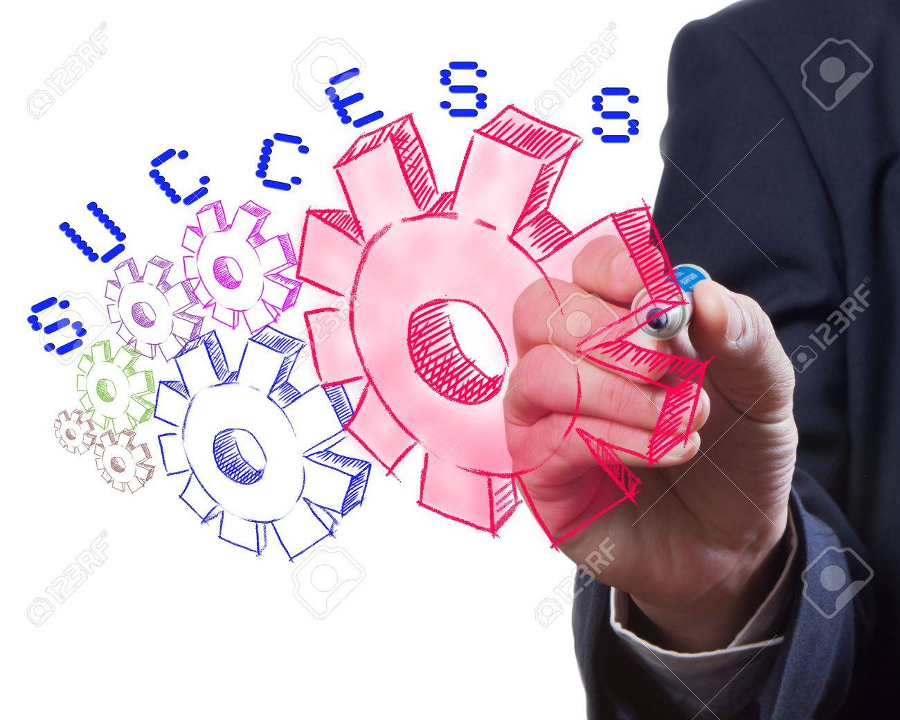 Business man drawing gear to success Stock Photo - 10706790