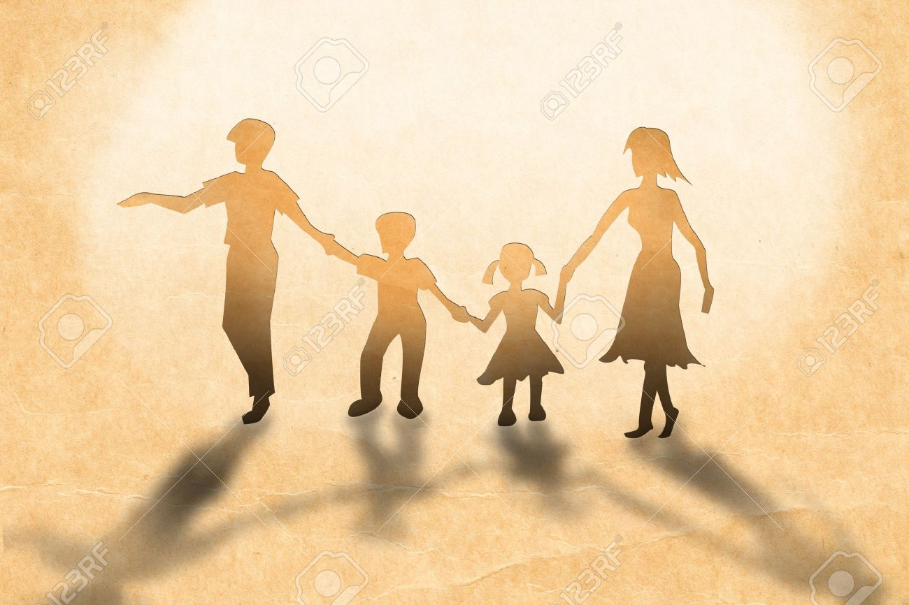Warmth family concept, make for cut out of paper on vintage paper Stock Photo - 10706780