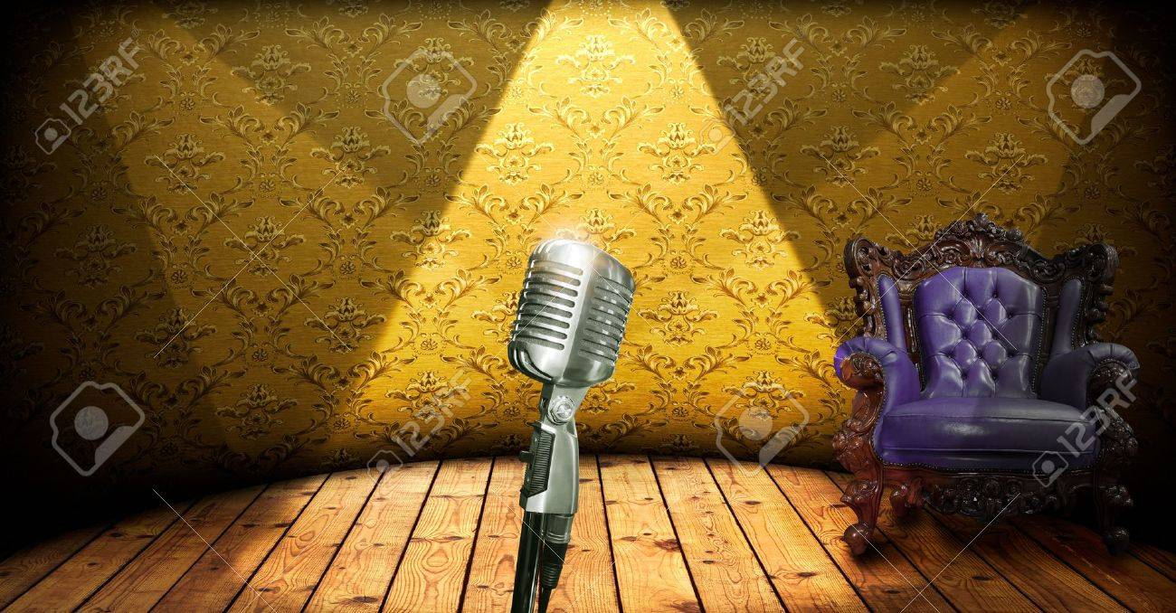 Retro microphone on stage and luxury chair Stock Photo - 10706803