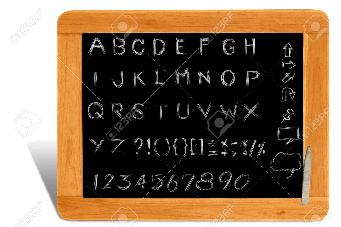 Handschrift Alphabet Auf Hölzernen Tafel Rahmen Lizenzfreie Fotos ...