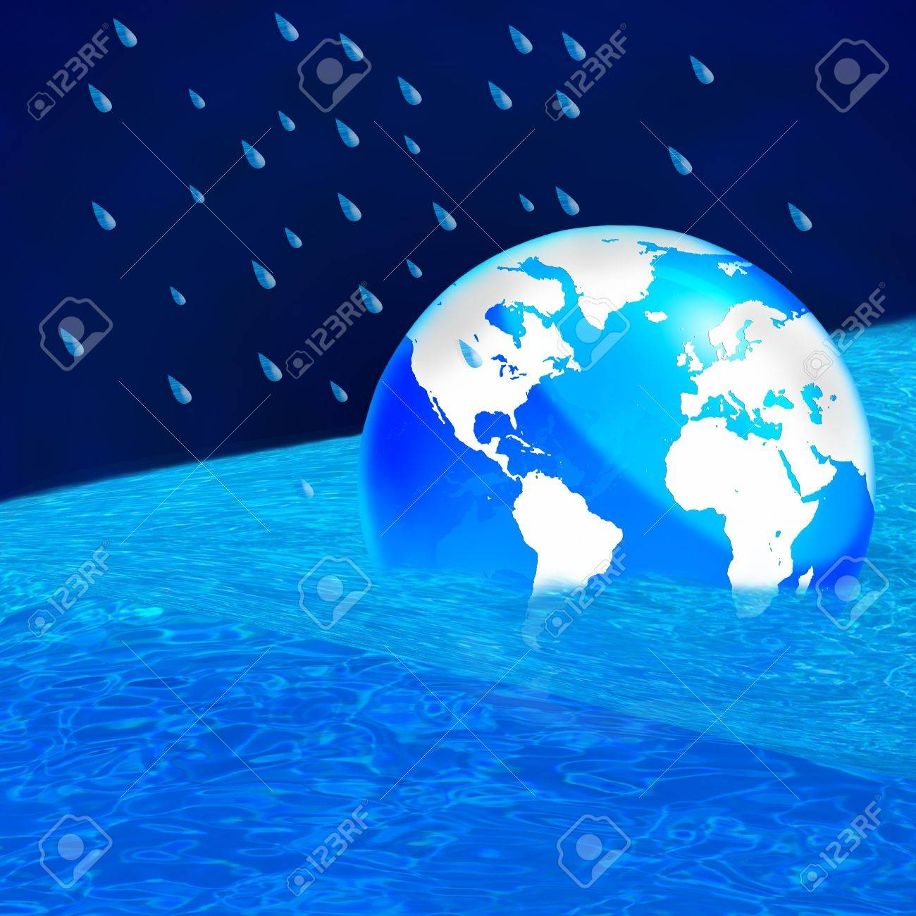 Save the world, The earth floating in a pool of water - this works great to denote a flood or to represent the melting of the polar ice caps. Stock Photo - 10930087