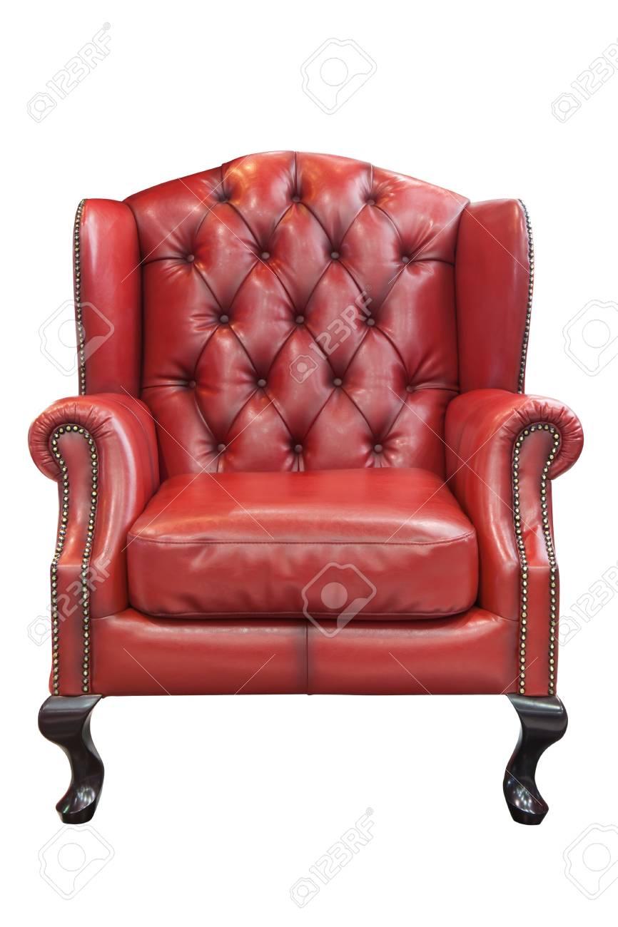 Rode Lederen Fauteuil.Geisoleerde Luxe Rode Lederen Fauteuil Royalty Vrije Foto Plaatjes