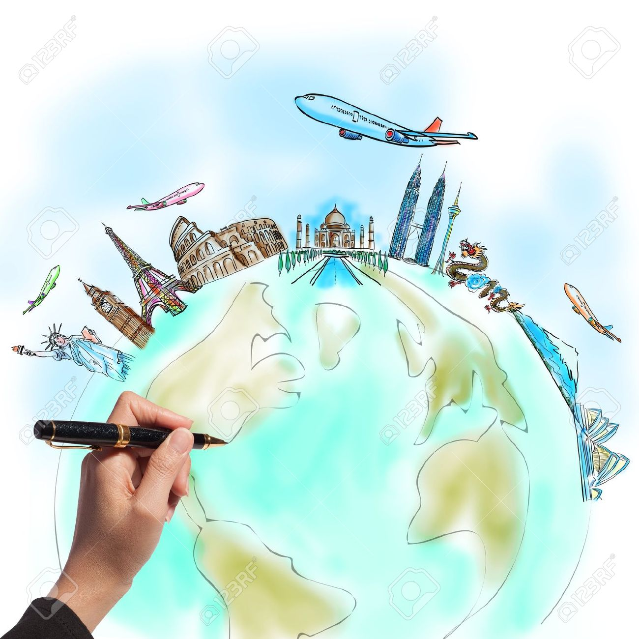 Drawing The Dream Travel Around World In A Whiteboard Stock Photo