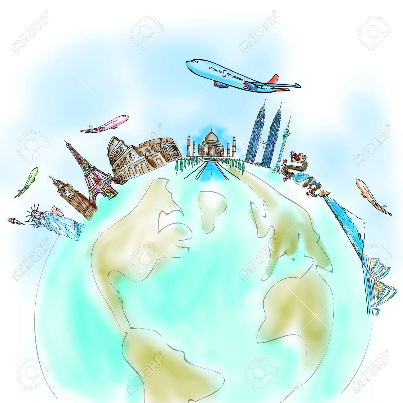 drawing the dream travel around the world in a whiteboard Stock Photo - 12397103