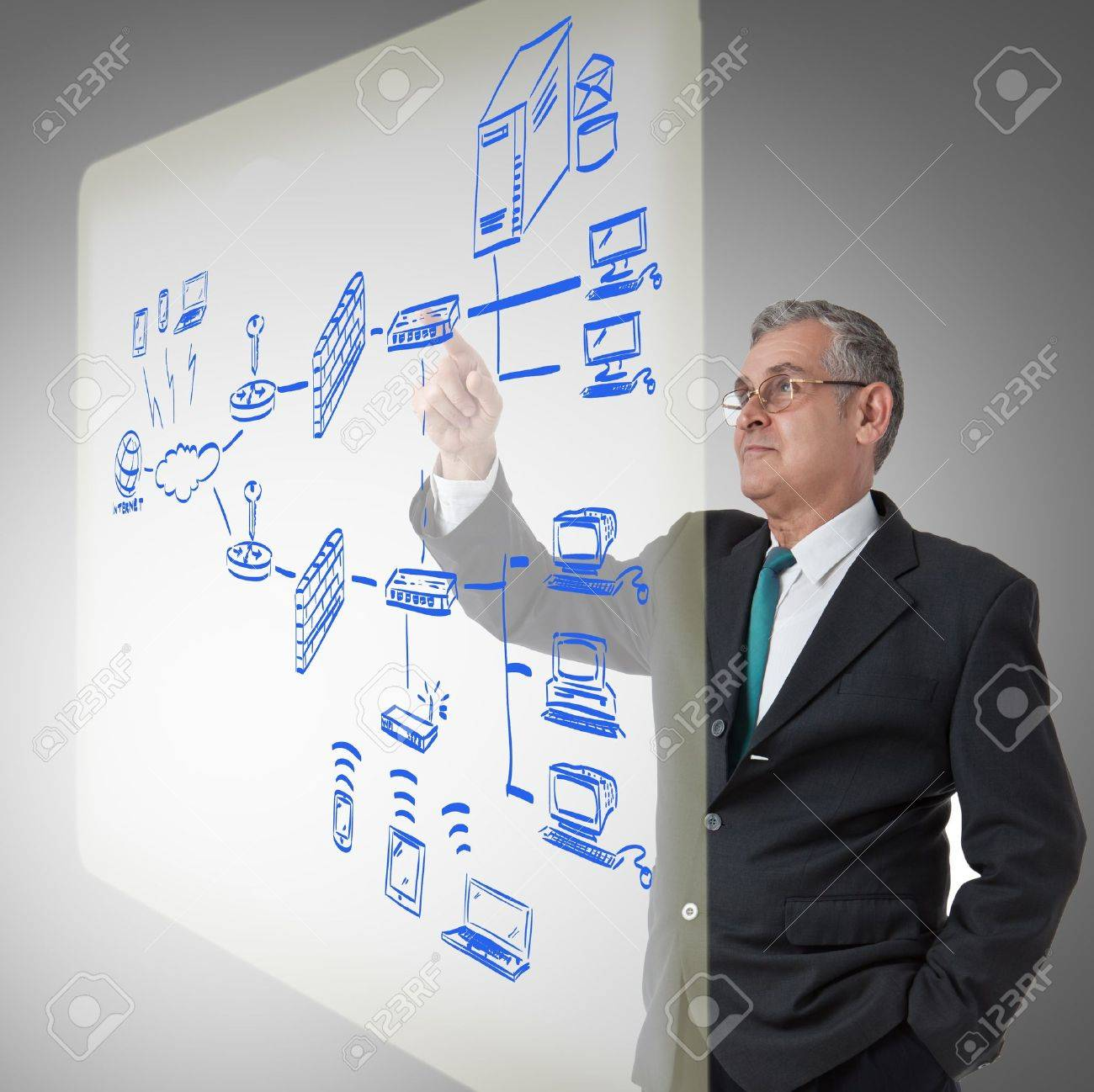 businessman touching a security plan for a firewall system Stock Photo - 12409714