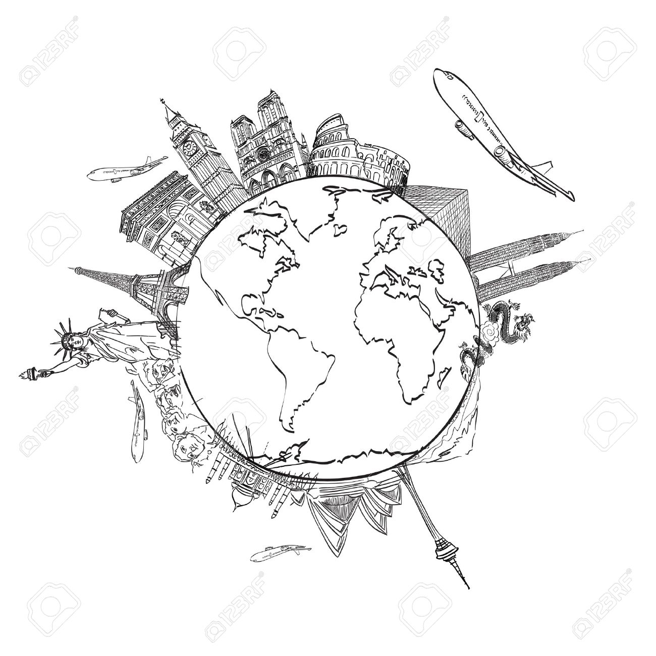 drawing the dream travel around the world in a whiteboard Stock Photo - 12989986