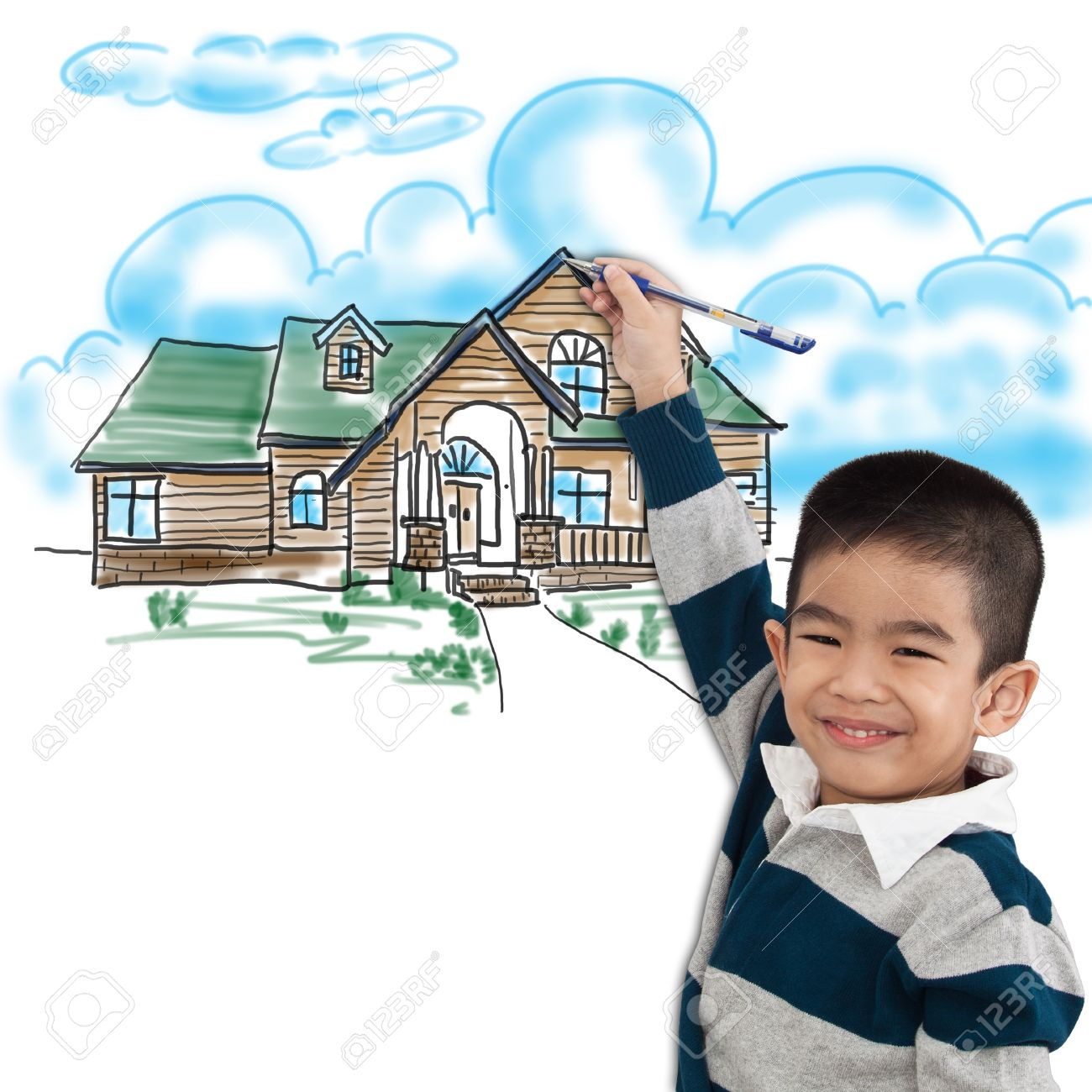 Stock photo boy drawing the dream house