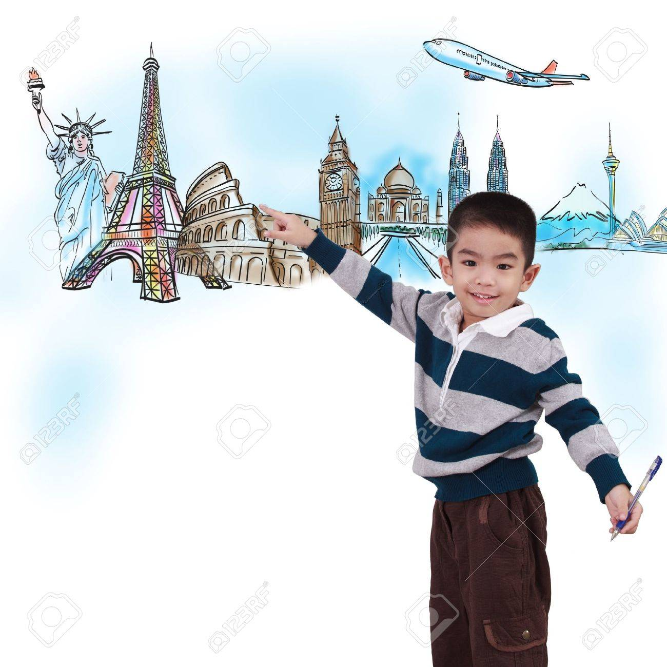 boy drawing the dream travel around the world in a whiteboard - 14689355