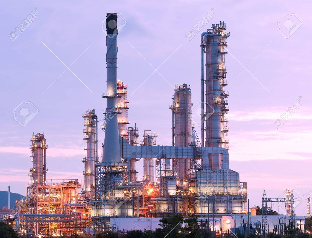 scenic of petrochemical oil refinery plant shines at night, closeup Stock Photo - 15127098